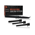PYT 4 Piece Curling Iron (Clip Free Curling Wand) Set